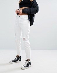 Noisy May Loose Distressed Hem Jean White