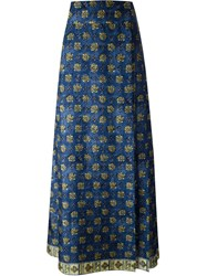 Alberta Ferretti Printed Long Skirt Blue