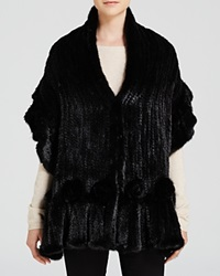 Maximilian Mink Fur Knit Scarf With Ruffle And Rosette Trim Black