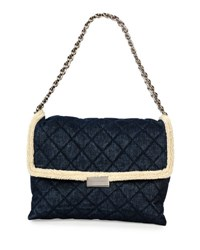 Stella Mccartney Quilted Denim And Faux Shearling Shoulder Bag Blue