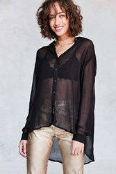 Silence And Noise Ace Sheer High Low Button Down Shirt Black