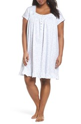 Eileen West Plus Size Women's Cotton Jersey Short Nightgown White Aqua Pink Berries