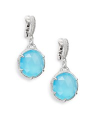 Judith Ripka Eclipse Aqua Chalcedony White Sapphire And Sterling Silver Single Drop Earrings Silver Blue