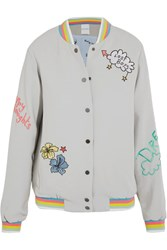 Mira Mikati Lost Boy Embroidered Crepe Bomber Jacket Gray