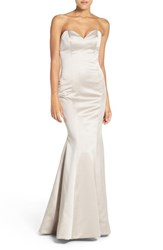 Hayley Paige Occasions Women's Strapless Satin Trumpet Gown Candelight
