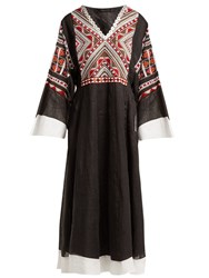 Vita Kin Malta Embroidered Linen Midi Dress Black Multi