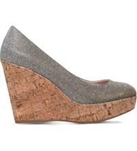 Carvela Attend Canvas Wedge Court Shoes Pewter