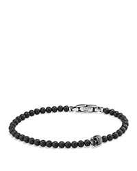 David Yurman Spiritual Beads Skull Bracelet With Black Onyx In Sterling Silver Black Silver