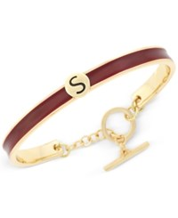 Bcbgeneration Gold Tone Love Letter Initial Bangle Bracelet Yellow Dark Red S
