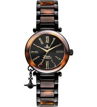 Vivienne Westwood Vv006bkbr Time Machine Faux Tortoiseshell Watch Silver