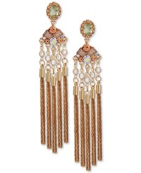 Guess Gold Tone Multi Stone And Chain Tassel Chandelier Earrings