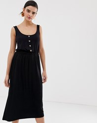 Warehouse Midi Dress With Button Detail In Black