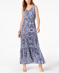 Ny Collection Petite Printed Smocked Waist Tiered Maxi Dress Navy Skyterrace