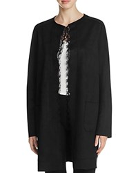 T Tahari Rosemary Lace Trimmed Faux Suede Coat Black