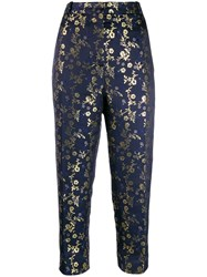 Marni Cropped Floral Print Trousers Blue