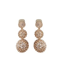 Oscar De La Renta Pave Crystal Three Drop Clip On Earrings Gold