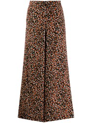 Bellerose Leopard Cropped Palazzo Trousers Red