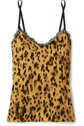 Anine Bing Lace Trimmed Leopard Print Silk Satin Camisole Yellow