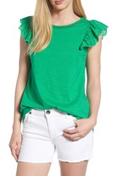 Bobeau Eyelet Sleeve Top Green