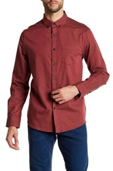 Kenneth Cole Long Sleeve Solid Woven Shirt Red