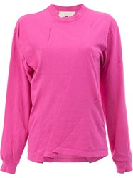 Aganovich Reconstructed Long Sleeved T Shirt Cotton L Pink Purple