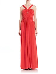 Bcbgmaxazria Valane Halter Ruched Detail Gown Red Berry