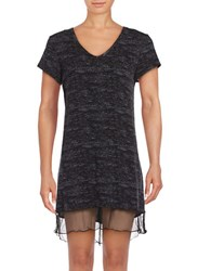 Roudelain Plus Printed Jersey Knit Nightgown Black