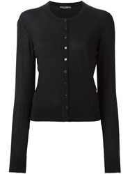 Dolce And Gabbana Crew Neck Cardigan Black