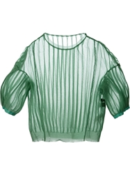 Undercover Balloon Sleeves Pleated Sweater Green