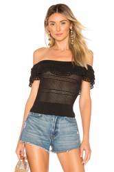 Marissa Webb Tasha Ruffle Knit Top Black