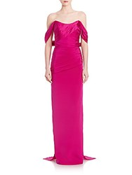 Theia Off The Shoulder Silk Gown Magenta