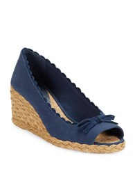 Lauren Ralph Lauren Chaning Open Toe Espadrille Wedges Modern Navy Blue
