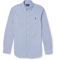 Polo Ralph Lauren Slim Fit Gingham Check Cotton Shirt Blue