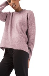 Topshop Women's Pointelle Boxy Sweater Lilac