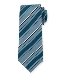 Multi Striped Silk Tie Gray Grey Davidoff
