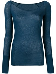 Humanoid Scoop Neck Long Sleeve Top Blue