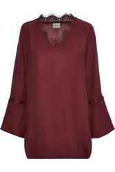 Charli Woman Sylvia Lace Trimmed Washed Crepe Top Claret