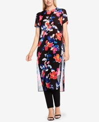 Vince Camuto Floral Print High Low Tunic Rich Black