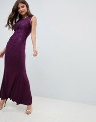 Ax Paris Slinky Maxi Dress With Lace Detail Purple