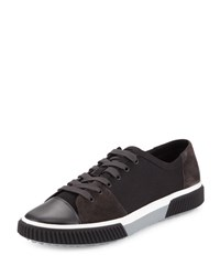 Prada Linea Rossa Canvas And Suede Low Top Sneaker Black