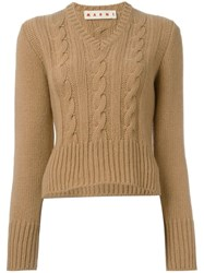 Marni Cable Knit Sweater Brown