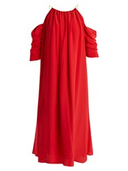 Anna October Open Shoulder Silk Blend Midi Dress Red