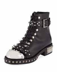 Alexander Mcqueen Studded Lace Up Cap Toe Boot Black