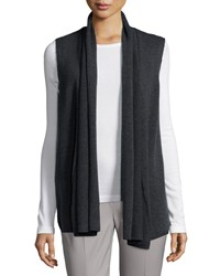 Petite Cash Vest W Leather Combo Silver Lafayette 148 New York Steel