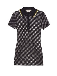 Stella Mccartney Checked Sheer Knit Polo Shirt Navy White