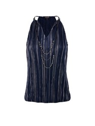 Morgan Sleeveless Metallic Striped Top Navy