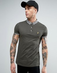 Brave Soul Knitted Collar Polo Shirt Khaki Green