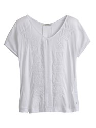 Sandwich Embroidered Jersey Top White
