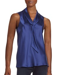 Tahari By Arthur S. Levine Petite Sailor Tie Sleeveless Woven Top Royal