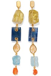 Monica Vinader Caroline Issa Gold Vermeil Multi Stone Earrings One Size